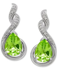 Macy's Peridot 2 1 2 Ct. T.W. And Diamond Accent Drop Earrings In Sterling Silver