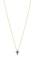 Kacey K Mini Cross Necklace Gold Black