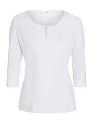 Boss Logo Boss Pin Tuck Front Blouse White