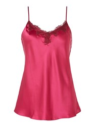 Ginia Silk Camisole Top With Lace Detailing Fuchsia