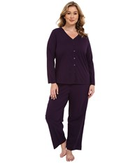 Jockey Plus Size Two Piece Cotton Cardigan Pj Set Eggplant Women's Pajama Sets Purple