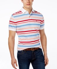 Tommy Hilfiger Men's Big And Tall Appy Stripe Polo Classic White