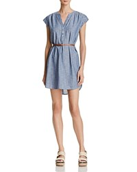 Joie Neha Belted Chambray Shirt Dress Sailor Blue