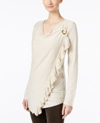 Inc International Concepts Petite Ruffled Draped Sweater Only At Macy's Heather Sand
