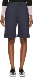 Mother Of Pearl Navy Wool Tailoring Rolled Cuffs Shorts