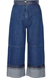 Maison Martin Margiela Cropped Denim Wide Leg Pants Blue