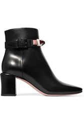 Fendi Embellished Leather Ankle Boots Black