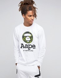 Aape By A Bathing Ape Long Sleeve T Shirt With Camo Print Logo White