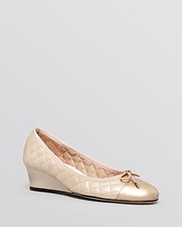 Paul Mayer Cap Toe Wedge Pumps Nice Quilted