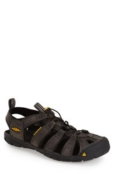 Keen Men's 'Clearwater Cnx' Leather Sandal Magnet Black