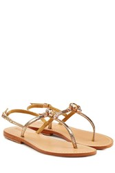 Mystique Embellished Leather Sandals Gold