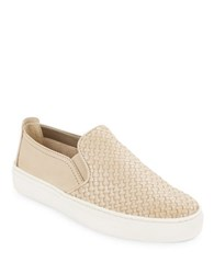 The Flexx Sneak Name Woven Leather Slip On Sneakers Beige
