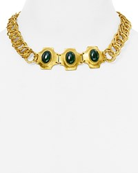 Stephanie Kantis Russet Choker Necklace 13 Gold Green Agate