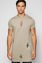 Boohoo Destroyed T Shirt With Zips Olive
