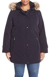 Plus Size Women's Gallery Faux Fur Trim Snap Front Parka