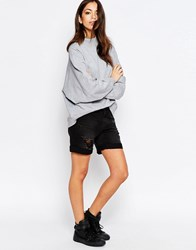 Jdy J.D.Y Destroyed Boyfriend Denim Shorts Black