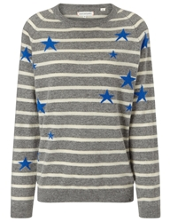 Chinti And Parker Grey Stripe Cashmere Star Jumper