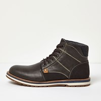 River Island Mens Grey Lace Up Worker Boots