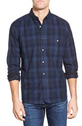 Men's French Connection 'Route' Trim Fit Long Sleeve Plaid Sport Shirt Medieval Blue