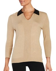 Karl Lagerfeld Collared Knit Sweater Camel