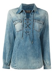 Roberto Cavalli Lace Up Denim Shirt Blue