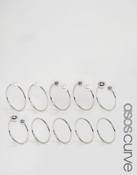 Asos Curve Pack Of 10 Faux Pearl Open And Mixed Rings Silver
