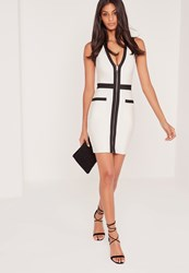 Missguided Premium Bandage Zip Front Contrast Bodycon Dress White Yellow