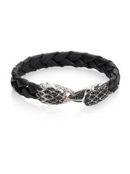 John Hardy Legends Sapphire And Sterling Silver Braided Eagle Head Bracelet Black