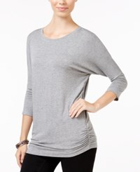 Planet Gold Juniors' Ruched Dolman Sleeve Top Rain Grey Heather