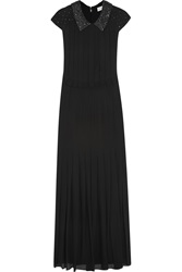 Tory Burch Tatum Embellished Pleated Silk Crepe Gown Black