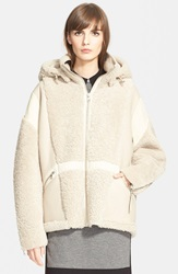 'Snorri' Genuine Shearling Hooded Jacket Sand