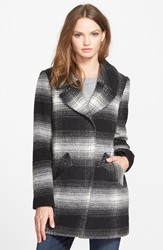 Jessica Simpson Brushed Plaid Coat Black White