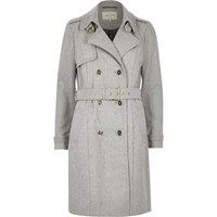 River Island Womens Grey Soft Textured Trench Coat