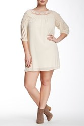 Want And Need Daisy Crochet Neck Ruffle Trim Dress Plus Size White