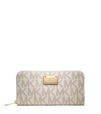 Michael Kors Jet Set Zip Around Logo Travel Wallet Vanilla