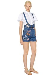 Valentino Butterfly Patches Cotton Denim Romper