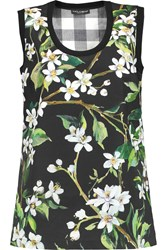 Dolce And Gabbana Floral Print Cotton Shell Top Black