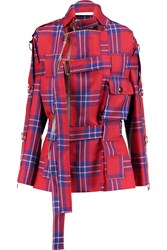 Vivienne Westwood Buckle Embellished Checked Wool Jacket Red