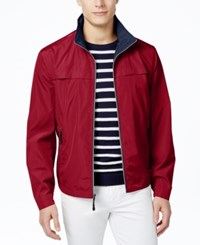 London Fog Men's Big And Tall Packable Flange Front Stand Collar Jacket Red