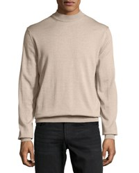 Neiman Marcus Mock Neck Pullover Sweater Chameau