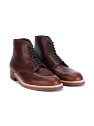 Alden Indy Leather Boot Cognac White Brown Dark Brown