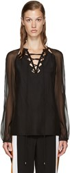 Altuzarra Black Silk Benny Blouse