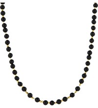 Black Dakini Cuban Link Agate Beaded Necklace Gold Blk