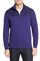Men's Bugatchi Long Sleeve Quarter Zip Knit Sweatshirt Orchid