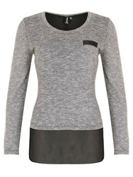 Izabel London Soft Knit Top With Shirttail Detail Navy
