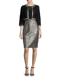 Kay Unger New York Jacket And Dress Two Piece Set Black White