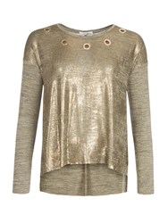 Relish Cutout T Shirt Gold Metallic