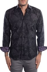 Bertigo Men's Paisley Modern Fit Sport Shirt Black