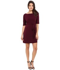 Jessica Simpson Solid Ity Dress With Sash Winetasting Women's Dress Burgundy