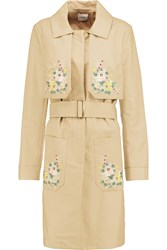 Vilshenko Judy Embroidered Cotton Trench Coat Nude